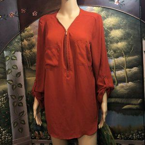 Woman's red/orange Blouse with Gold detail Sz. XL